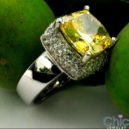 Estate Canary 5 Ct Cushion Pave Cubic Zirconia Cz Ring