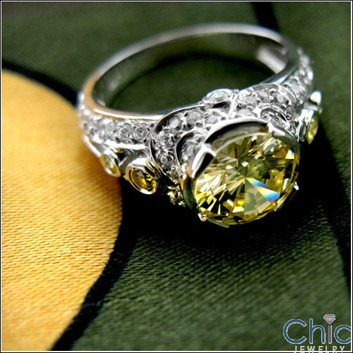 Anniversary Canary Round 2 Ct Center Cubic Zirconia Cz Ring