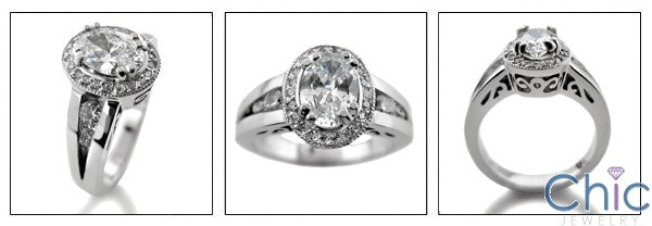 Estate 1.25 Oval Center in Halo Cubic Zirconia Cz Ring