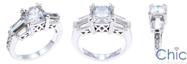 Anniversary 1.5 Cushion Center Channel Baguette Cubic Zirconia Cz Ring