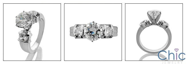Engagement 1.5 Round Center 6 Prong Cubic Zirconia Cz Ring