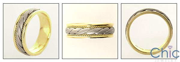 Mens Two Tone Gold Wedding Braided Band