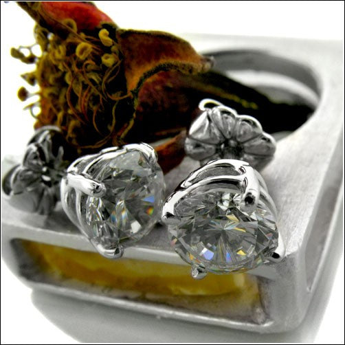 2 Ct Round Basket Set Cubic Zirconia CZ Earrings