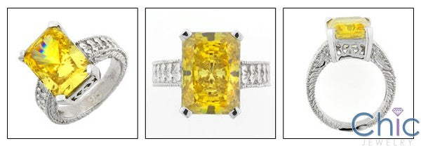 Anniversary 5 Ct Canary Radiant Engraved Shank Cubic Zirconia Cz Ring
