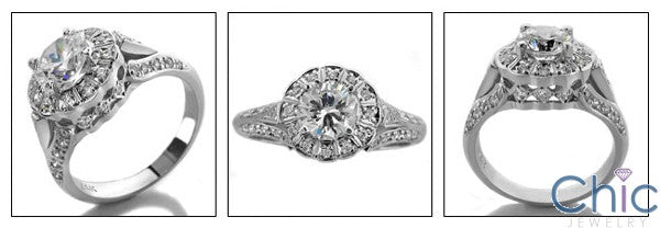 Anniversary 1.25 Round Center Halo Cubic Zirconia Cz Ring
