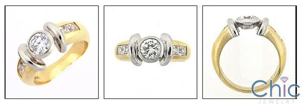High Quality Round Cubic Zirconia Center Bezel Princess Channel Two Tone 14K Gold Ring