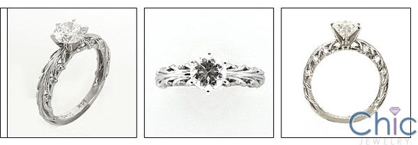 Engagement 1.1 Round Center in 6 Prong Tiffany Cubic Zirconia Cz Ring