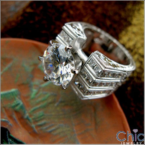 Engagement Hand Engraved 3 Ct Round Center 12mm Cubic Zirconia Cz Ring