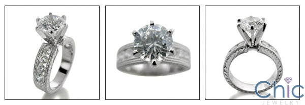 Engagement 2.25 Round Center Channel Round HCt Engraving Cubic Zirconia Cz Ring