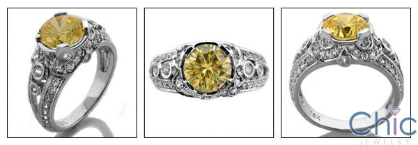 Estate 2.0 Ct Round Canary Bezel Pave Cubic Zirconia Cz Ring