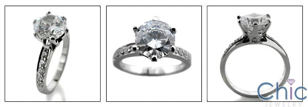 Engagement 1.5 Round Center Pave Cubic Zirconia Cz Ring