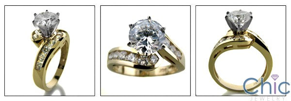 Engagement 2 Ct Round Twisted Channel Shank Cubic Zirconia Cz Ring