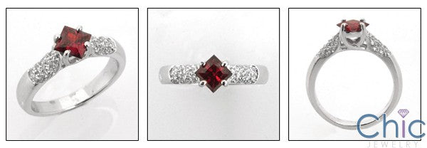 Anniversary .60 Ruby Color Princess Center Pave Cubic Zirconia Cz Ring