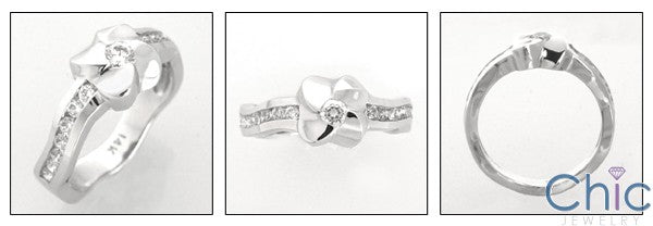 Cubic Zirconia Promise Ring Solid 14K White Gold