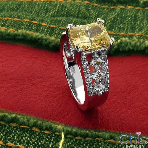 Anniversary Canary Yellow Radiant 3 Ct Cubic Zirconia Cz Ring