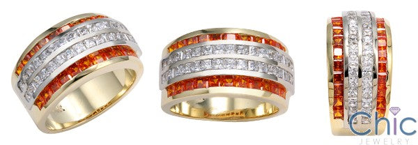 Two Tone Gold Orange Princess Channel Cubic Zirconia Diamond Band