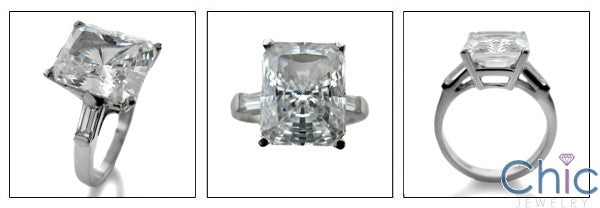 Engagement 4.5 Radiant Ct Baguettes in Channel Cubic Zirconia Cz Ring