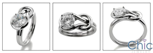 Solitaire Knot Ring 1 Ct Round Cubic Zirconia 14 K White Gold