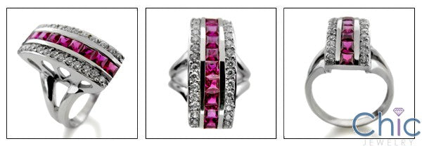 Channel Set Ruby Princess Cut Cubic Zirconia Right Hand 14k White Gold Ring