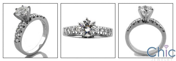 Engagement Finest Quality Round CZ Set in 6 Prongs Cubic Zirconia Cz Ring