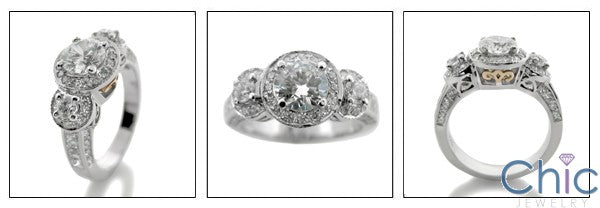 Engagement Round 0.75 Center 1.35 Pave Cubic Zirconia Cz Ring