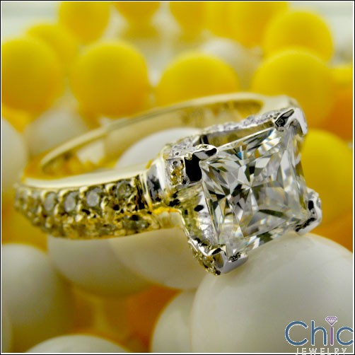 Engagement 1 Ct Princess in Prongs Two Tone Cubic Zirconia Cz Ring