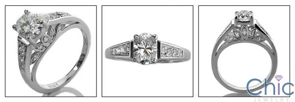 Engagement Oval 1 Ct Center High Cubic Zirconia White Gold Ring