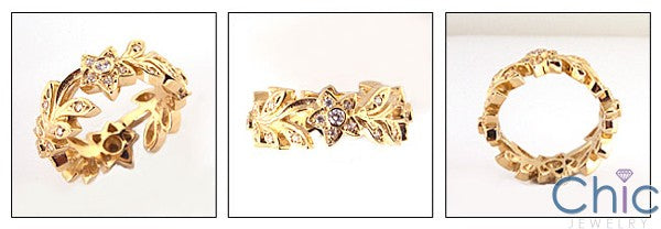 Eternity Flower And Leaves Pave set Cubic Zirconia Wedding Band 14k Gold