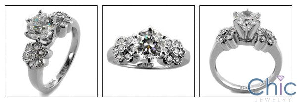 Engagement Round 1 Ct Cubic Zirconia flower style Cubic Zirconia Cz Ring