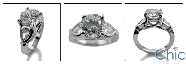 3 Stone 2.25 Round Pear Shape Cubic Zirconia Cz Ring