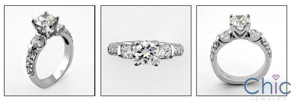 Engagement Brilliant 1 Ct CZ Center Euro Shank Cubic Zirconia Cz Ring