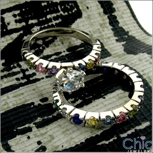 Eternity Multi Color Round Stone Cubic Zirconia Cz Ring