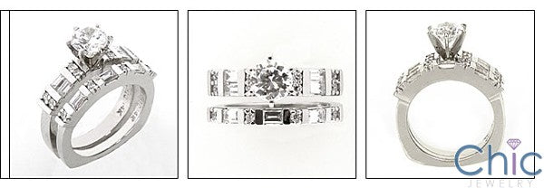 Matching Set Round Center Baguettes 1.4 Ct Euro Shank Cubic Zirconia Cz Ring