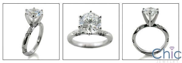 Engagement 2.5 Round Center Tiffany 6 Prongs Cubic Zirconia Cz Ring