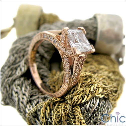 Engagement Rose gold 1.5 Princess Pave Cubic Zirconia Cz Ring