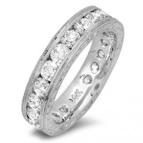 Round Cubic Zirconia Eternity Channel Hand Engraved Band