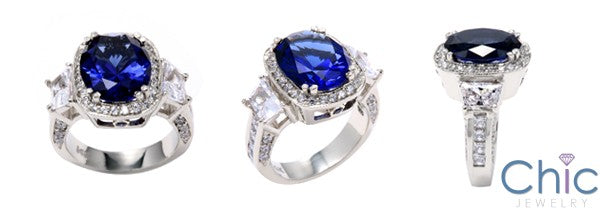 Engagement 5 Ct Oval Sapphire Trapezoid Two tone Cubic Zirconia Cz Ring