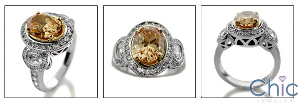 Estate Oval 2.5 Ct Center in Two Tone Gold  Cubic Zirconia 14K Gold Ring