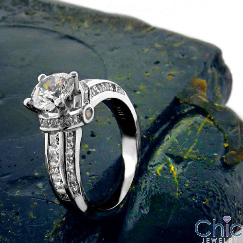 Engagement 1 Ct Brilliant Round Center Channel Cubic Zirconia 14K White Gold Ring