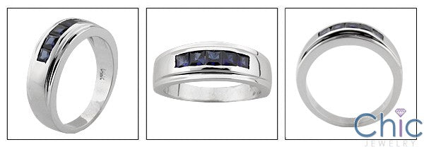 Mens .75 Princess Channel 7.5 MM Cubic Zirconia CZ Wedding Band