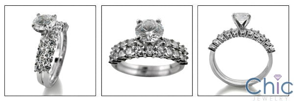 Matching Set 1 Ct Round Center Share Prongs Cubic Zirconia Cz Ring