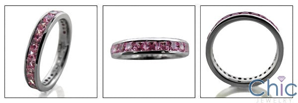 Eternity 1.5 TCW Pink Princess Channel Cubic Zirconia Cz Ring