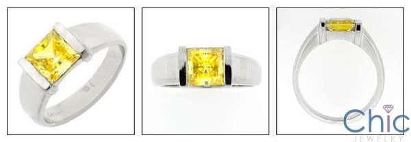 Solitaire Canary 1.5 Princess in Channel Cubic Zirconia Cz Ring