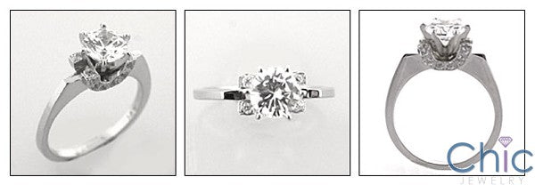 Engagement 1.25 Round TCW Narrow Shank Cubic Zirconia Cz Ring