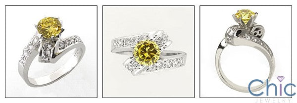 Anniversary Canary 1 Ct Round Twisted Shank Cubic Zirconia Cz Ring