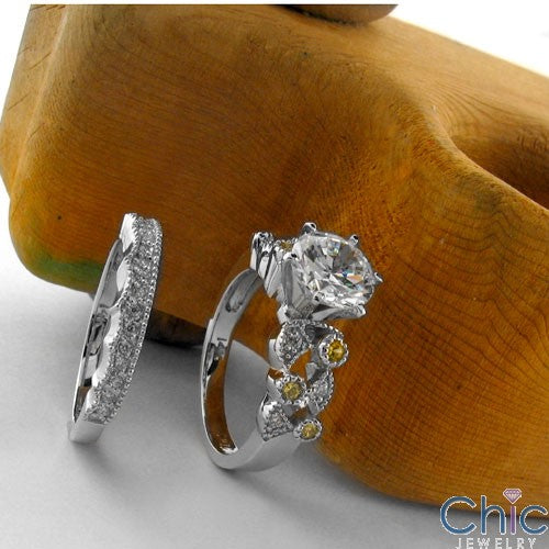Matching Set 1.5 Round Center Flush Burnished Pave Cubic Zirconia Cz Ring