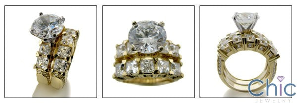 Cubic Zirconia 3 Carat Round Center Engagement Ring with Wedding Band 14k Yellow Gold