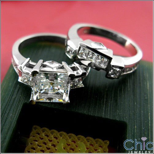 Matching Set 2 Ct Prinncess Channel Ct Fitted Cubic Zirconia Cz Ring