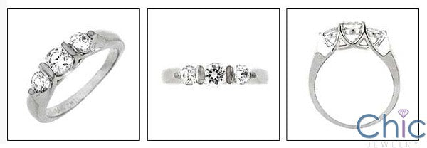 3 Stone 0.75 TCW Round Channel Cubic Zirconia Cz Ring