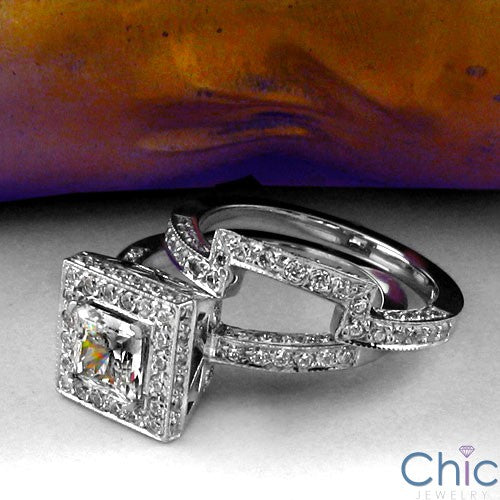 Matching Set 1 Ct Princess Center Pave Fitted Cubic Zirconia Cz Ring
